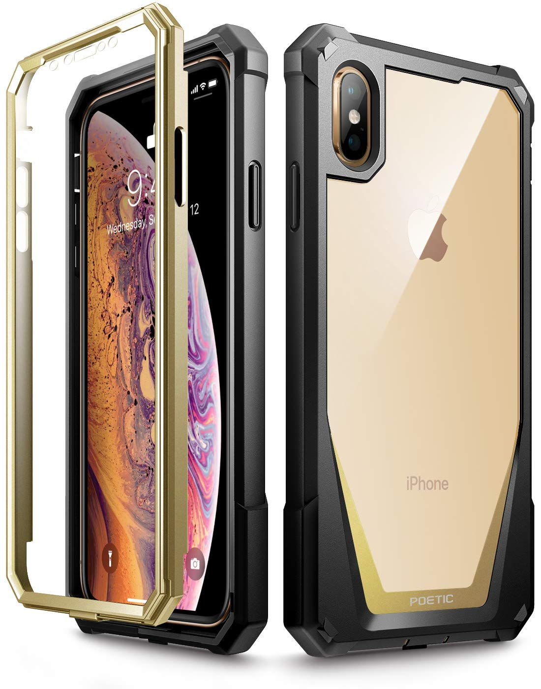 iPhone Xs Max Case, Poetic Guardian [Scratch Resistant Back] Full-Body Rugged Clear Hybrid Bumper Case with Built-in-Screen Protector for Apple iPhone Xs Max 6.5' OLED Display - Gold Guardian-iPhoneXsMax-Gold