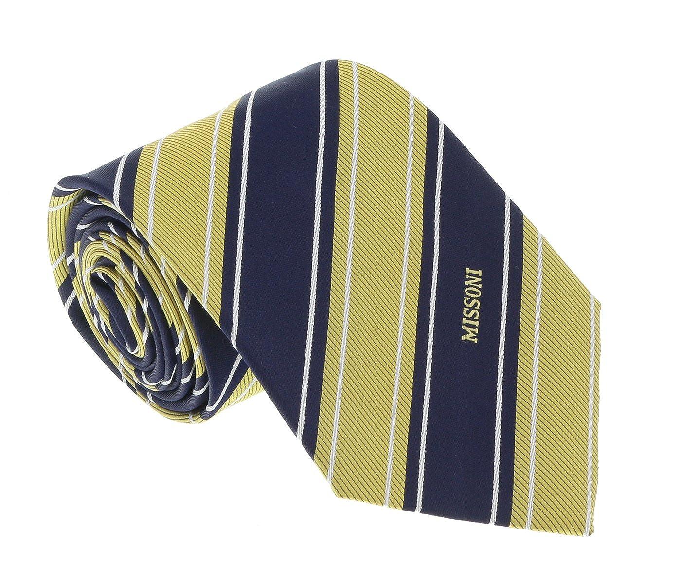 Missoni U5270 Navy Blue//Gold Regimental 100/% Silk Tie for Mens