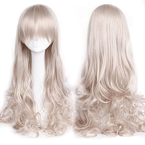 Anime Cosplay Full Wig With Bangs 24 40Inch 13 Colors Japanese Kanekalon Fiber Heat Resistant Synthetic Wig Long Curly Wavy Vogue 32 80Cm For Women Girls Lady Fashion Silvery Gray