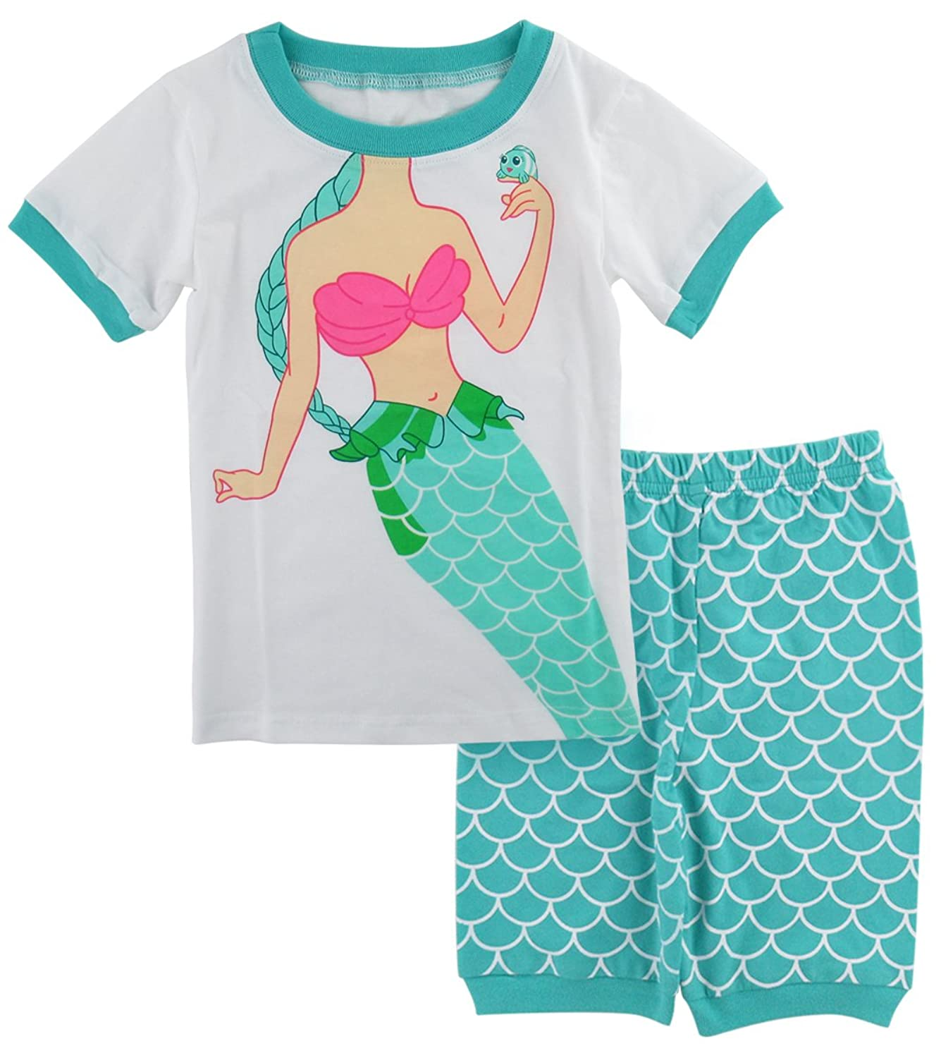 e31312cd53c4d AJDesign Kids Girls Mermaid Pajamas Short Sleeve Summer 2 Piece Sets (6,  Green)