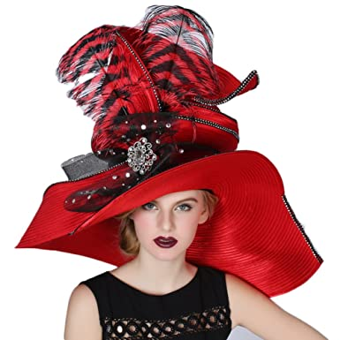 87ca928666ede June s Young Women Hats Large Brim Large Feather Church Party Fedoras Red  at Amazon Women s Clothing store