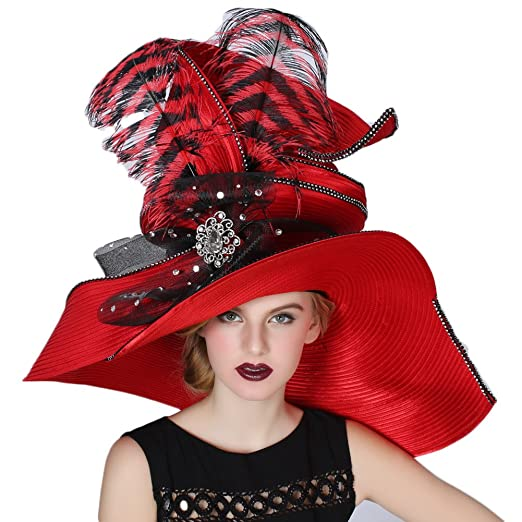 a14ed325083 June s Young Women Hats Large Brim Large Feather Church Party Fedoras Red  at Amazon Women s Clothing store