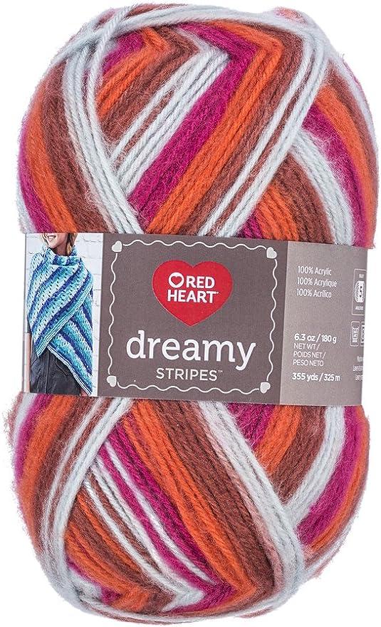 3 Pack Red Heart Dreamy Stripes Yarn-Snowy
