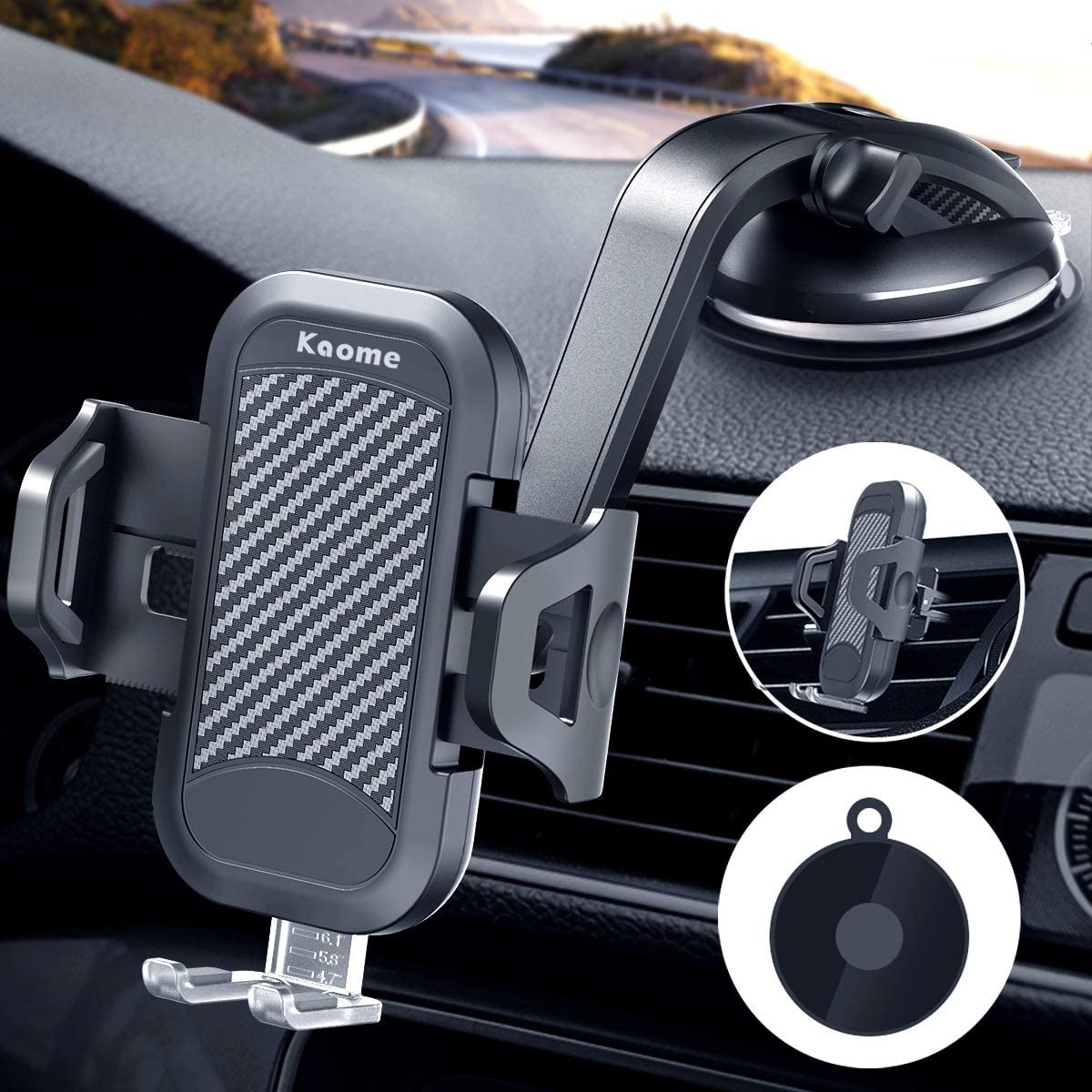 Kaome 3 in 1 Phone Holder for Car Upgraded Strong Suction Car Phone Mount for Dashboard Air Vent Windshield Universal for iPhone 11/11Pro Max/XR/X/SE/8 Plus,Samsung Galaxy S20 Ultra Note 10 Plus/10 9