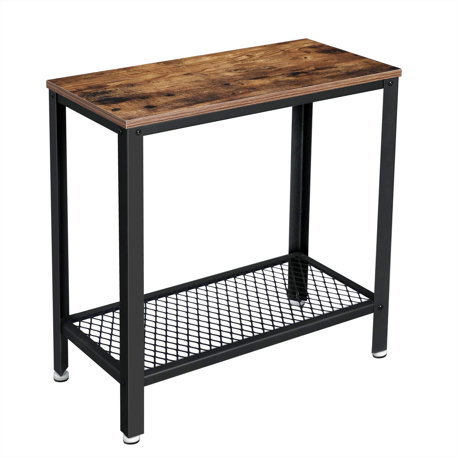 VASAGLE Industrial Side Table, End Table, Bedside Table With Mesh Shelf, Easy Assembly, Narrow and Space Saving in Living Room, Bedroom, Steel, 60 x 30 x 60 cm, Rustic Brown LET31BX