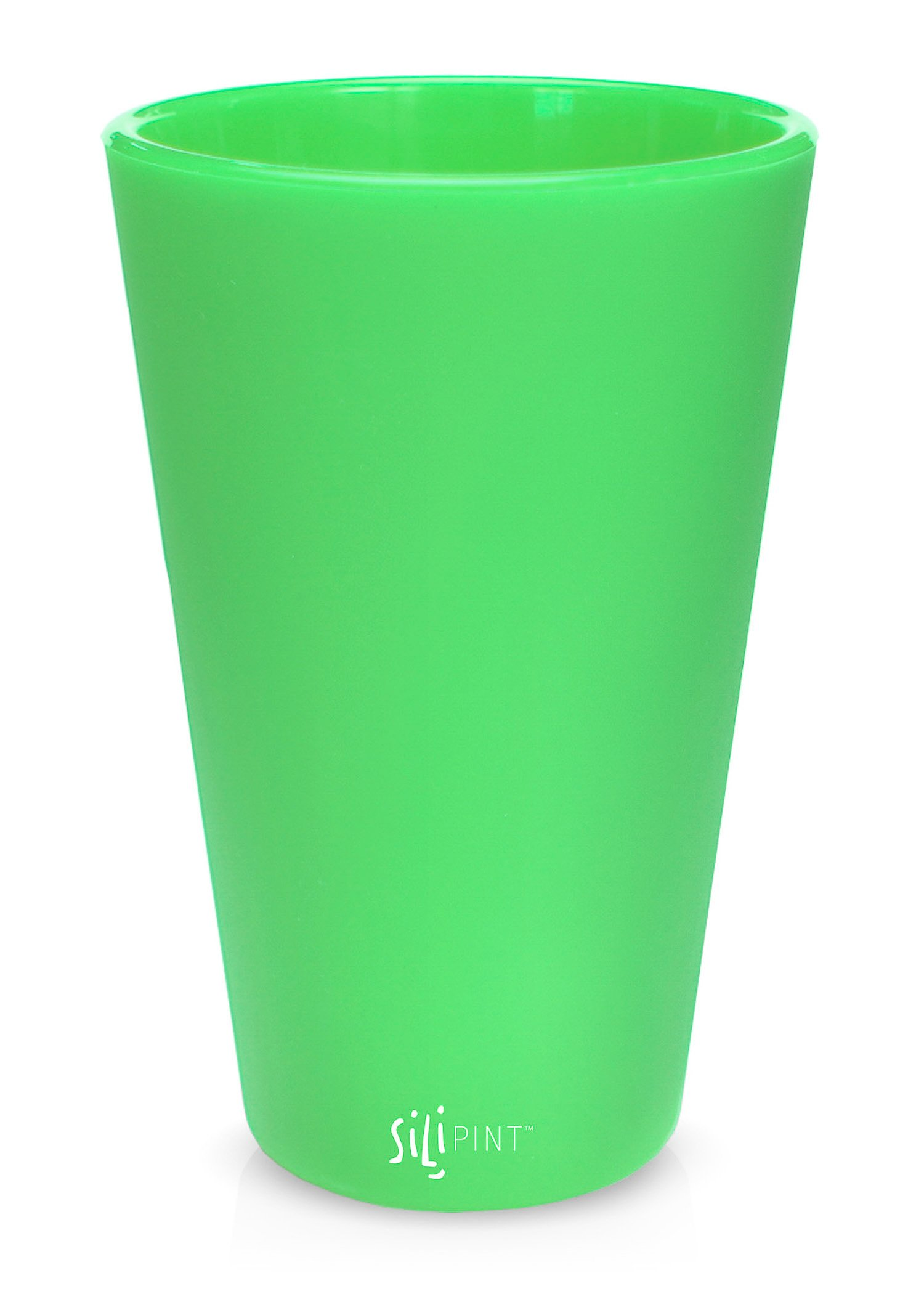 Silipint Silicone Pint Glass Set, Patented, BPA-Free, Shatter-proof, Unbreakable Silicone Cup Drinkware (Single, Glow Green) by Silipint