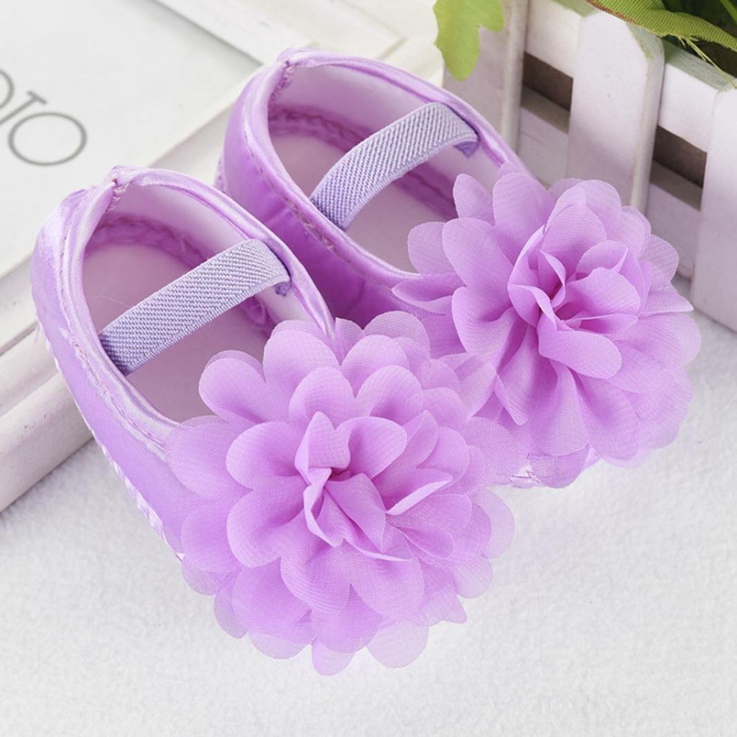 Digood Toddler Baby Kids Boys Girls Chiffon Flower Elastic Band Walking Crib Shoes