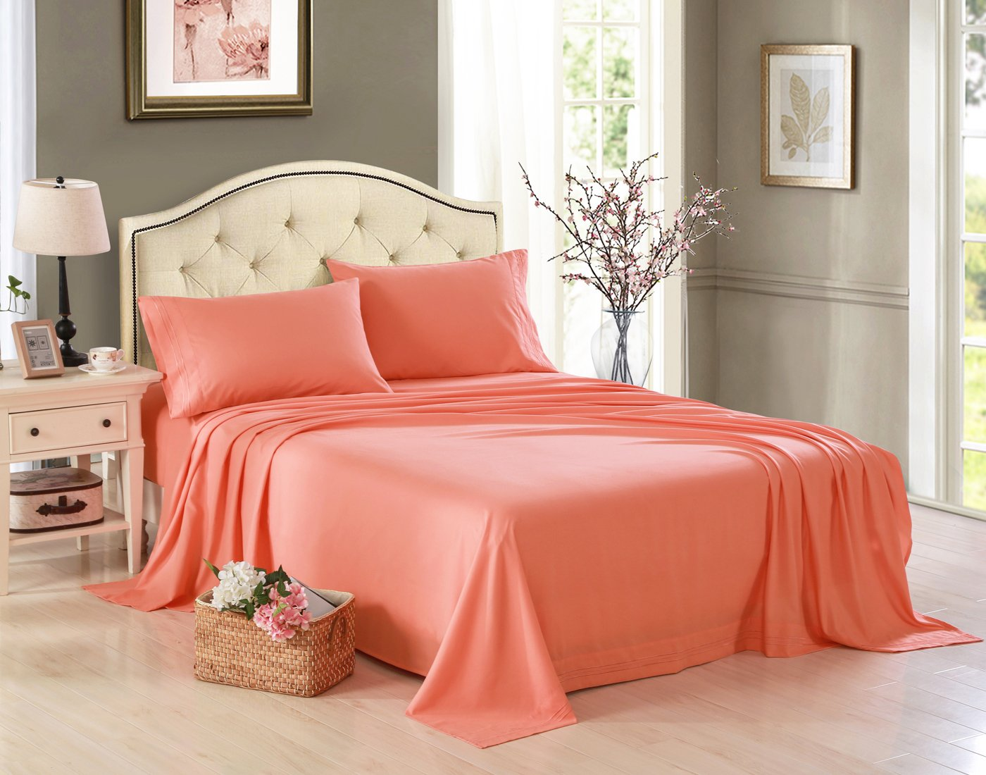Bed sheets for wedding - Amazon Com Honeymoon Embroidered 1800 Brushed Microfiber Ultra Soft Queen Bed Sheet Set Coral Home Kitchen