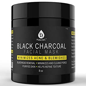 Pursonic Facial Mask Collection of Black Charcoal, Red Clay & Honey Mask, Sourced From All Over The World For A Clean And Healthy Face, 8OZ (Black Charcoal)