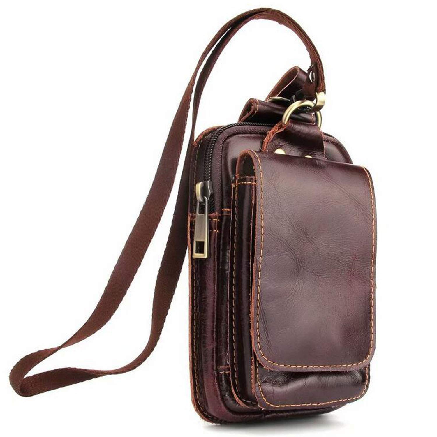 Genuine Leather Belt Wallet case Waist Bag Travel Messager Men Small Crossbody Messenger Phone Bag Compatible for iPhone/Samsung/Most Android Smartphones(Brown002)