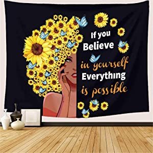 "Sunflower Black Girl Tapestry, African American Women Afro Girl Hair with Sunflowers Butterflies Tapestry Wall Hanging Inspirational Quotes Tapestry for Bedroom Living Dining Room Dorm Decor 60""Wx40""L (Black Yellow)"