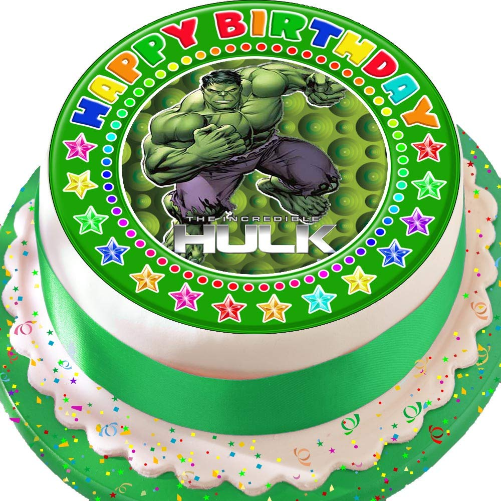 Magnificent Incredible Hulk Green Happy Birthday Precut Edible Icing Cake Funny Birthday Cards Online Chimdamsfinfo