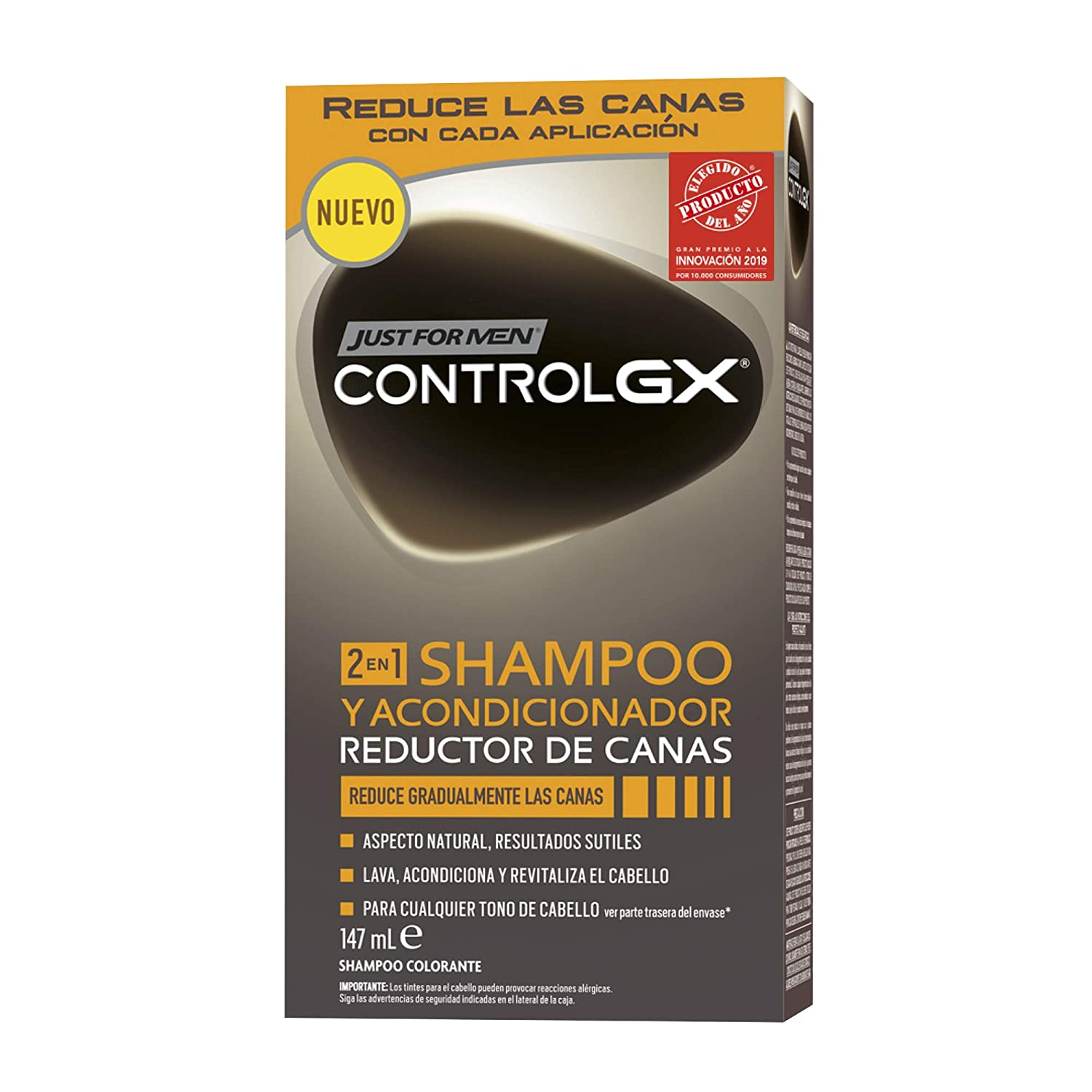 Just For Men, Control GX Tinte Pelo Reductor de Canas para Hombres, Champú y Acondicionador, Reduce Gradualmente las Canas, 147 ml