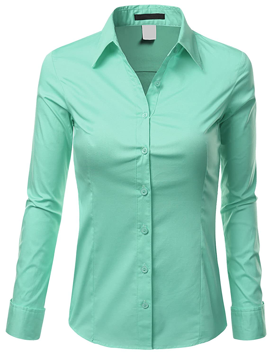 cd7023a900a Doublju Womens Basic Long Sleeve Cotton Button Down Collared Shirt at  Amazon Women s Clothing store