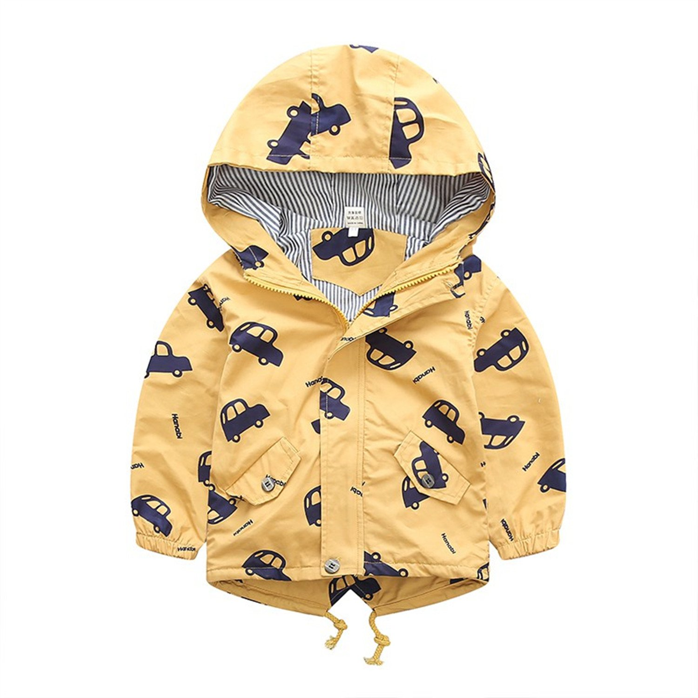 Spring Jacket Boys Girls Kids Outerwear Cute Car Windbreaker Coats Print Canvas Baby Children