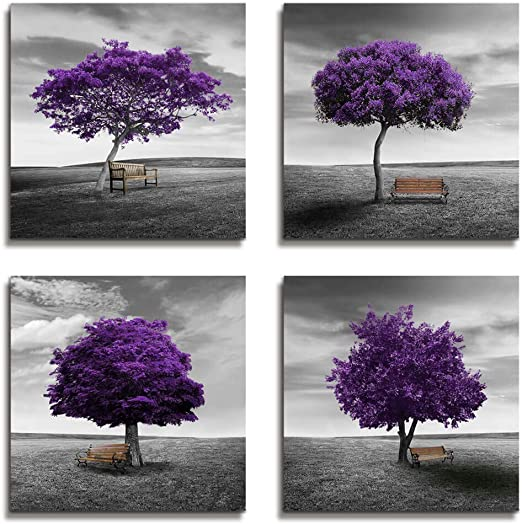 Wall Art Bedroom Wall Decor Canvas Print Purple Trees Modern Landscape  Framed Artwork - 4 Panels Wall Painting Black And White Style Tree Wall Art  For ...