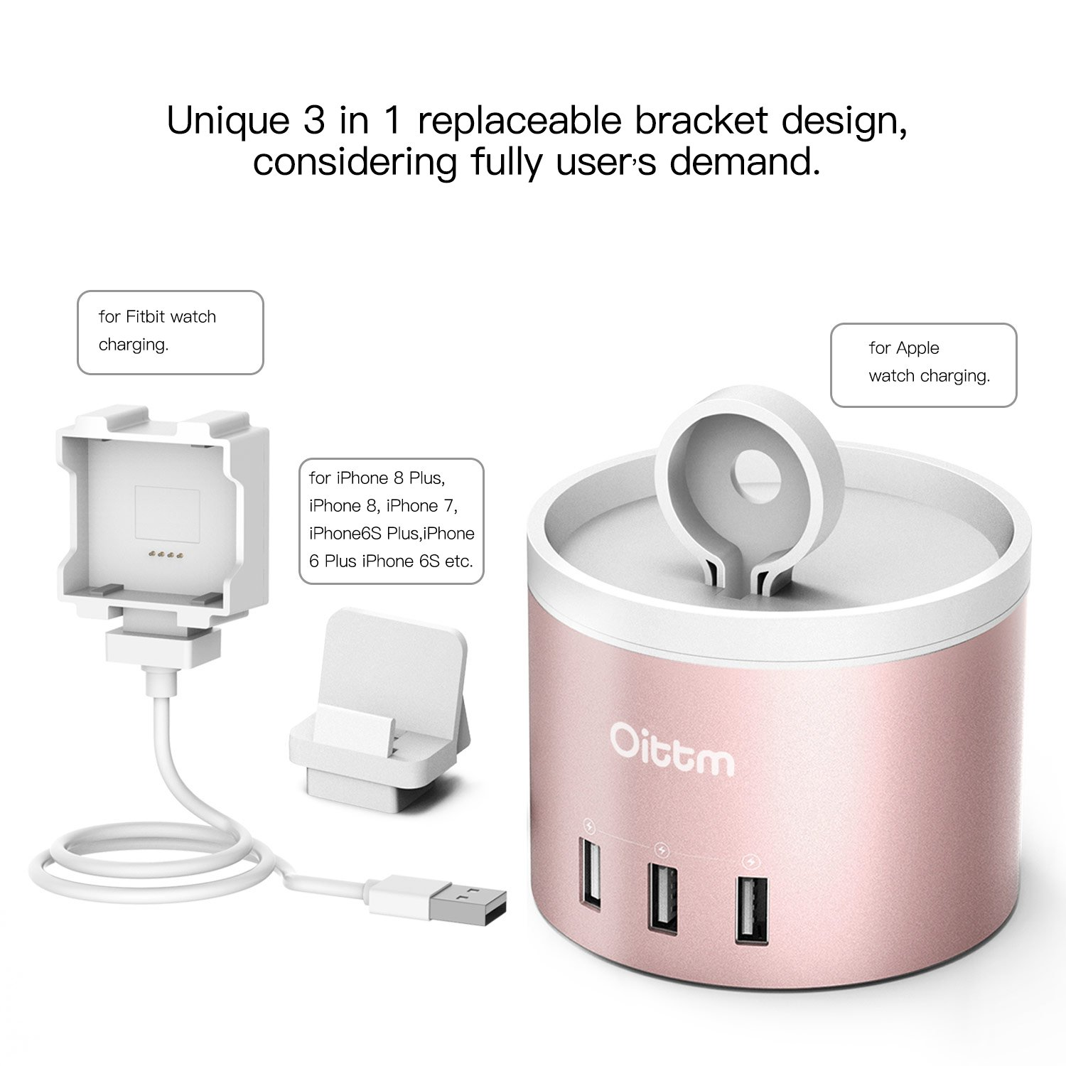 Oittm Apple Watch Series 3 Stand [3 in 1 Bracket Power Dock] 4-Port USB Rechargeable Stand with Phone Holder for iPhone X, iPhone8, 8 Plus, 7, 7 Plus, 6 Plus, iWatch 2/1, Fitbit Blaze (Rose Gold) by Oittm (Image #8)
