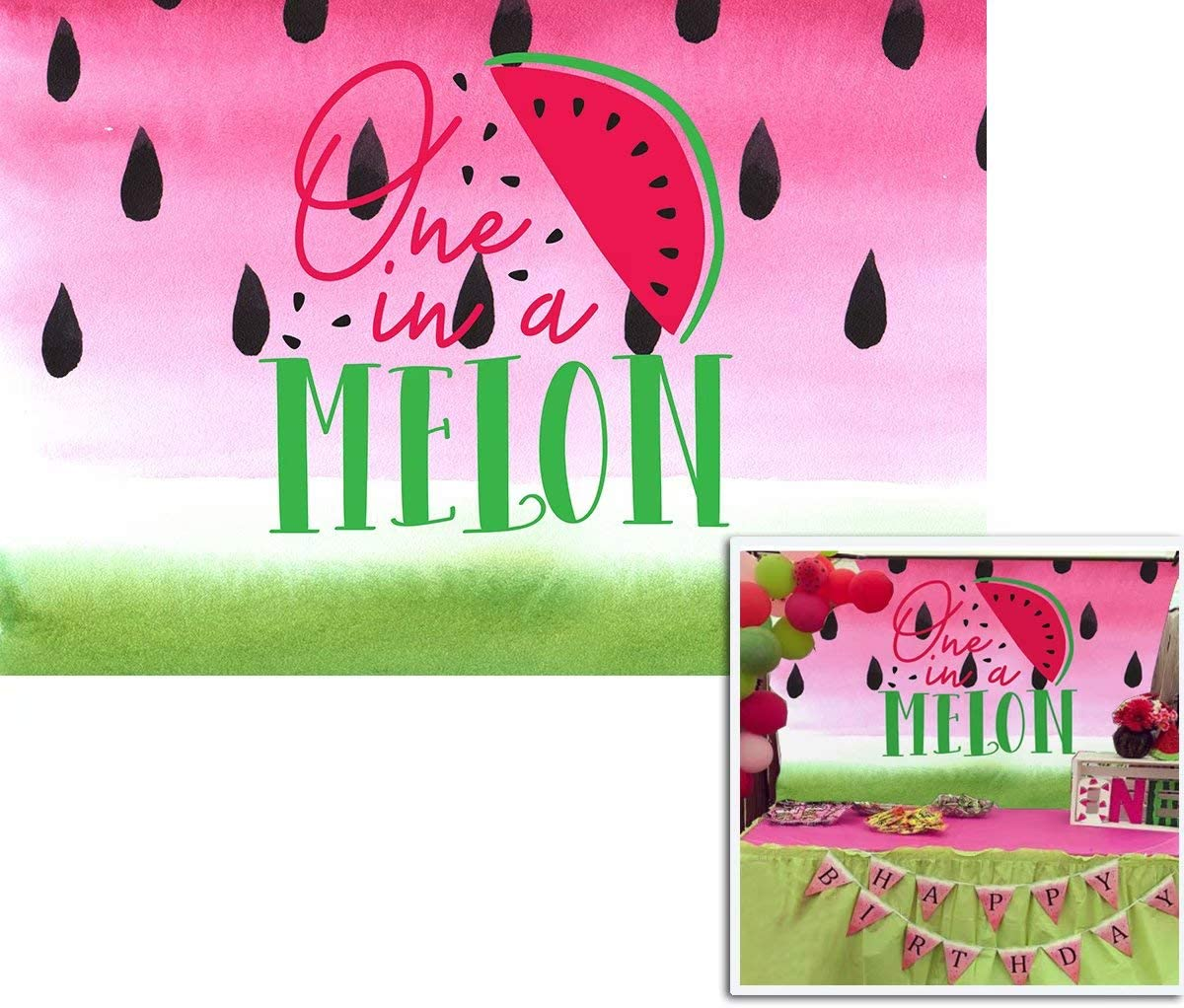 Renaiss 12x10ft Happy Birthday Backdrop Cartoon Watermelon Our Litter Sweet is in a Melon Photography Background Baby Girl 1st Birthday Party Banner Decoration Cake Table Studio Photo Booth Props