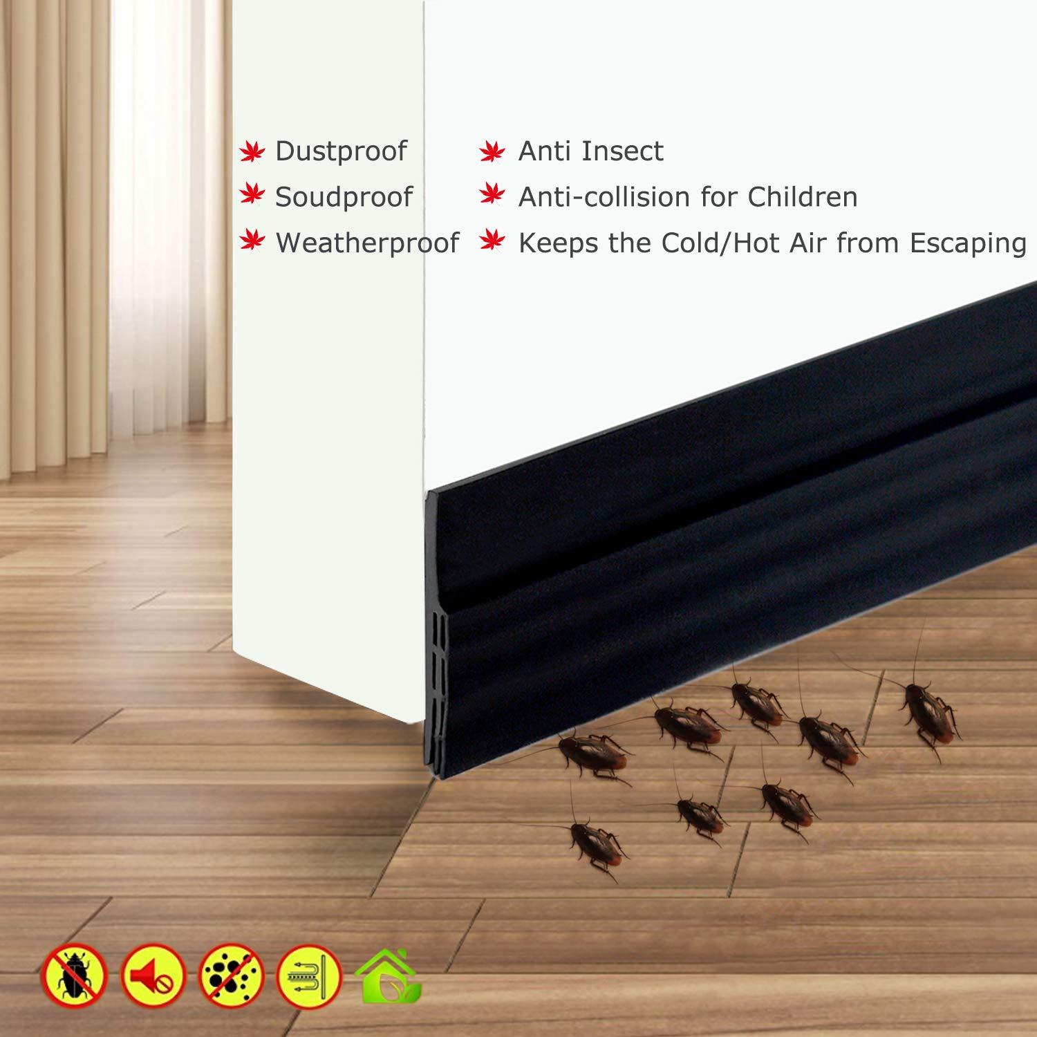 2 W X 39 L Soundproof Camel Home Weather Stripping Rubber Under Door Bottom for Interior Doors Seal Strip Insulation for Weatherproof Self Adhesive Door Sweep Draft Stopper 2 W X 39 L Black