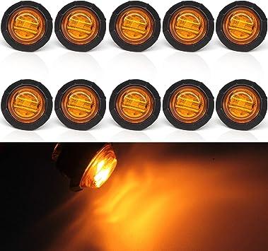 Excellent 20 Pieces of DC12V 3LED White Round Side Marker LED Lights Indicator Lamps