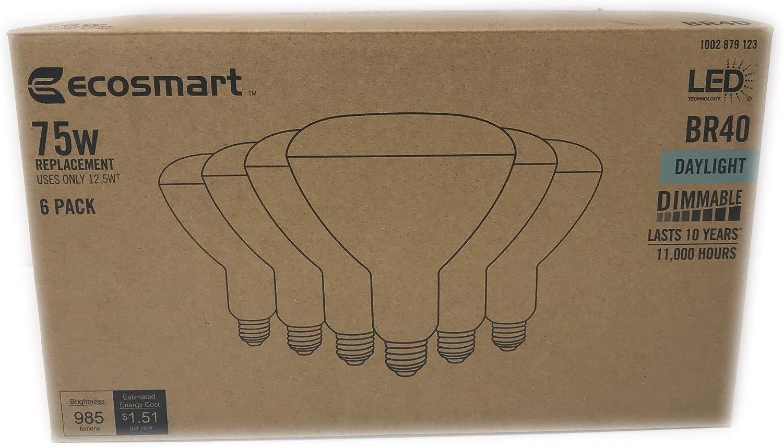 EcoSmart 75-Watt Equivalent BR40 Dimmable LED Light Bulb Daylight 6-Pack