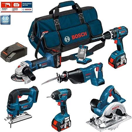 Bosch PSB7MM3A Professional - Lote de herramientas (GWS 18 V-LI, GSB 18 V-Li, GST 18 V-LI, GDR 18 V-LI, GKS 18 V-Li, GSA 18 V-LI, GLI VarrLED, 3 baterías de 4 Ah