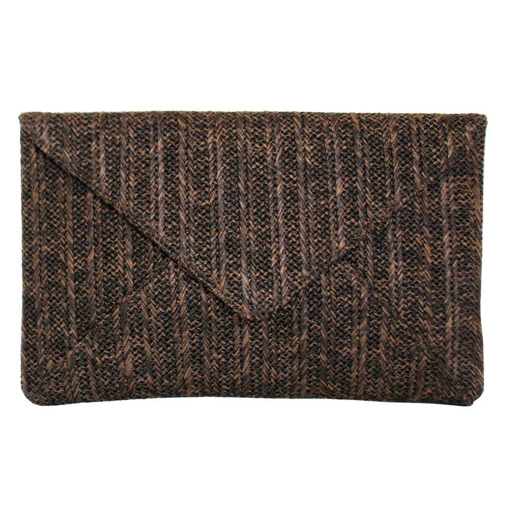 JNB Women's Straw Envelope Clutch Brown