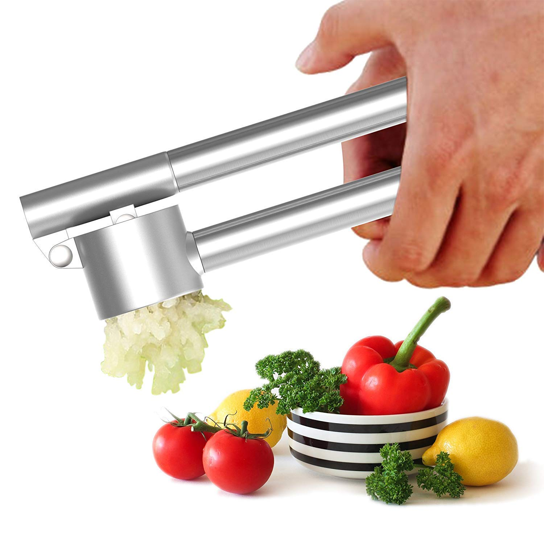 Tonicstar Tube Garlic Press and Peeler Set, Heavy Duty Zinc Alloy Garlic Mincer, Crusher with Ergonomic Handles, Convenient Kitchenware Cooking Equipment
