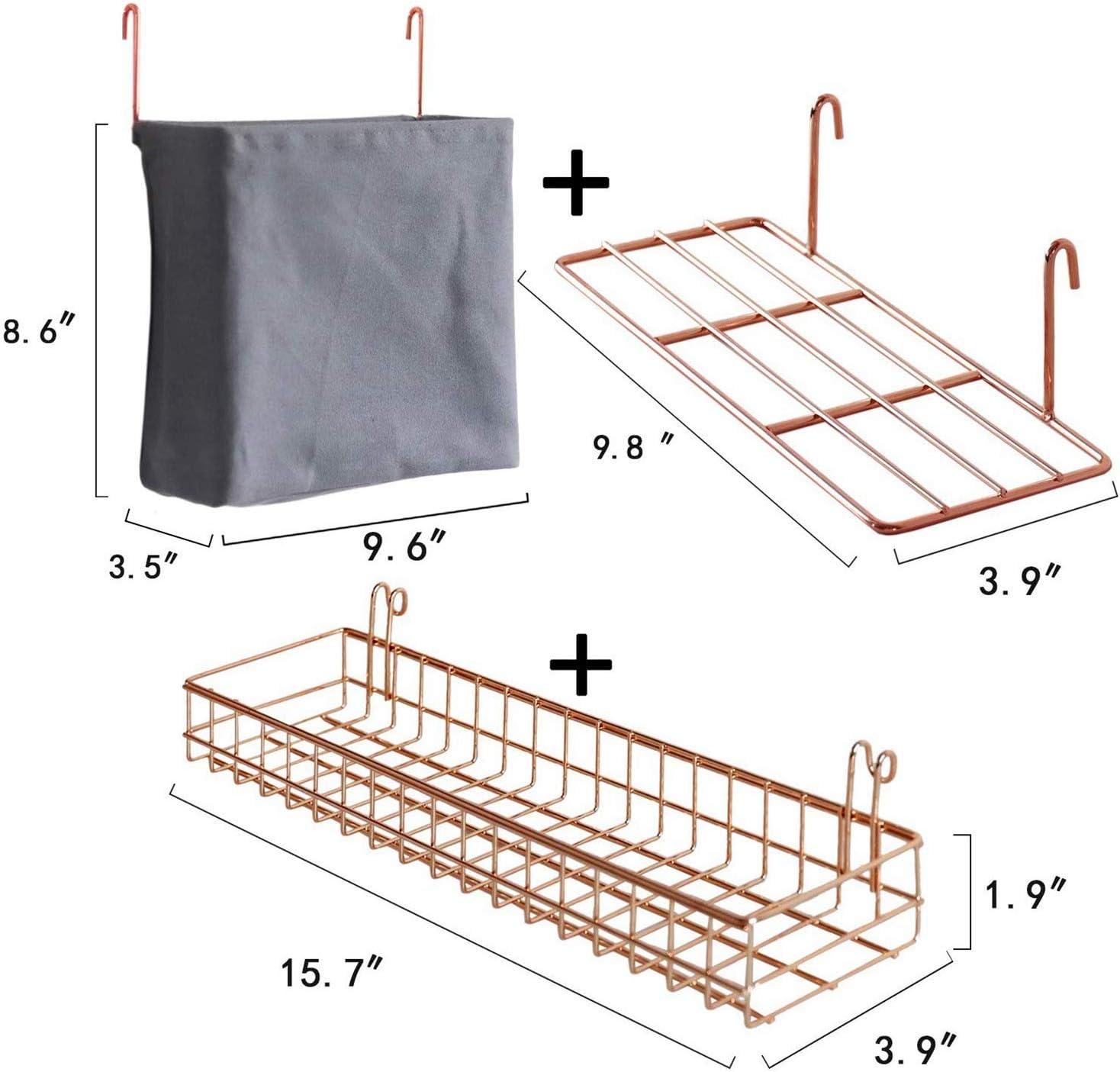 Nrpfell Rack de Almacenamiento de 3 Piezas Panel de Rejilla Pared Cesta Colgante Bolsa Estante Exhibici/óN con Ganchos Organizador Pared y Estante para Art/íCulos para Hogar Negro