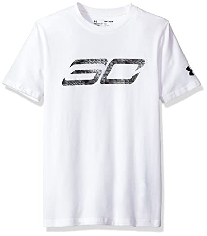 b90da25f39 Buy Under Armor Boys' SC30 Logo T-Shirt, White/Black, Youth X-Small ...