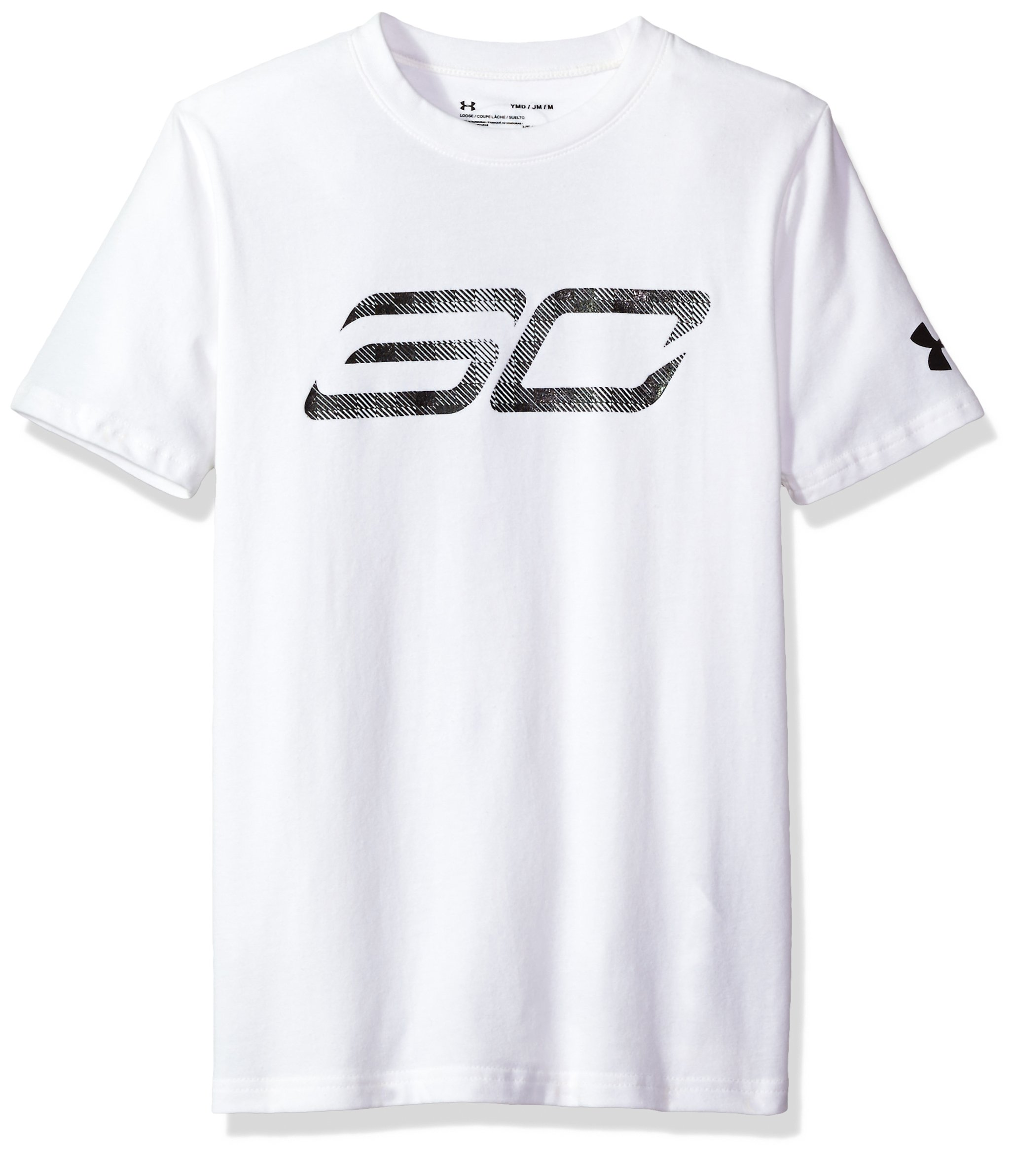 Under Armour Boys' SC30 Logo T-Shirt,White (100)/Black, Youth Small
