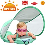 PRESELF Upgraded Baby Float Non-Inflatable Solid Swim Ring, Swim Float, Swim Trainer, Mambobaby with Removable UPF 50+ UV Sun Protection Canopy