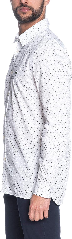 Lacoste Camisa CH4877 Topos Blanco Hombre - Ropa