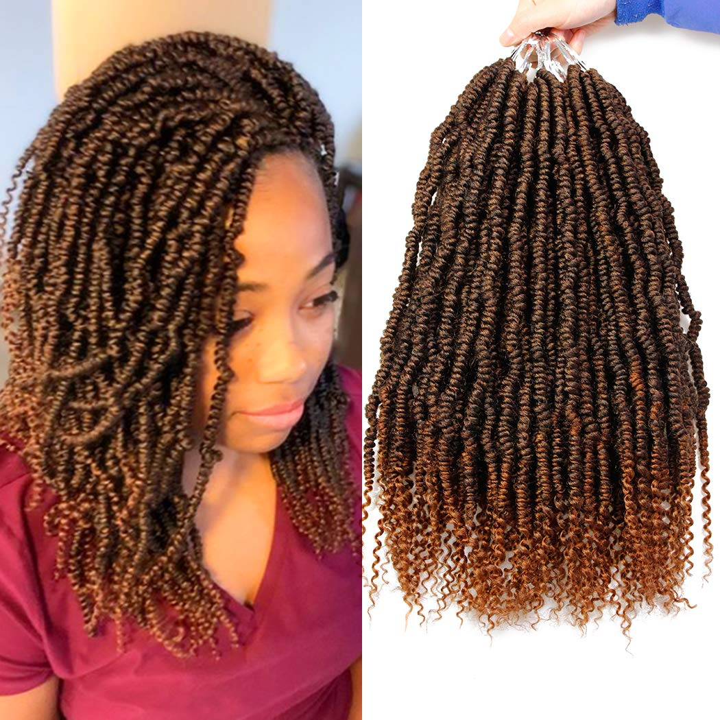 6 Packs Bomb Twist Crochet Hair 14 Inch Spring Twist Crochet Braids Pre-looped Mini Passion Twist Braiding Hair Senegalese Spring Twist Nubian Twist Kinky Curly Synthetic Hair Extensions (T30#)