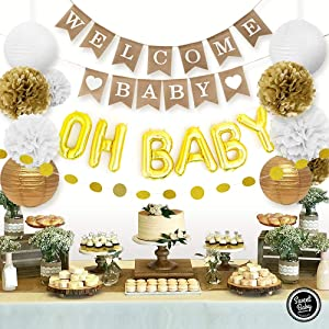 Sweet Baby Co. Baby Shower Decorations Neutral For Boy or Girl With Welcome Baby Banner, Oh Baby Foil Balloon, Paper Lanterns, Paper Tissue Pom Poms, Circle Garland | Rustic Gold and White Gender Neutral Baby Shower Decorations Set