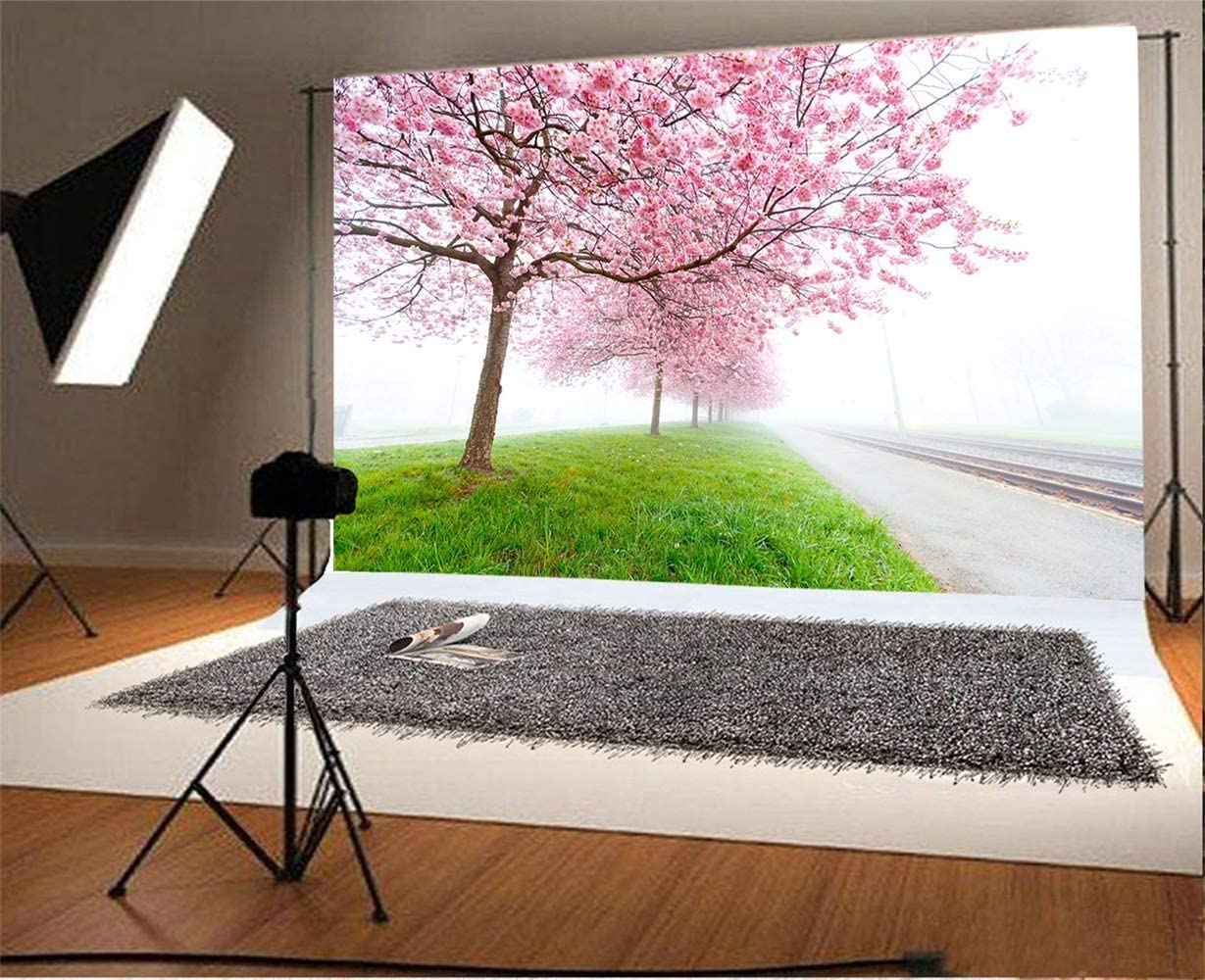 10x6.5ft Spring Blooming Line of Trees Grassland Misty Road Scene Backdrop Polyester Seamless Pink Blossoms Trees Background Wedding Photo Shoot Child Adult Bride Portrait Scenic Wallpaper