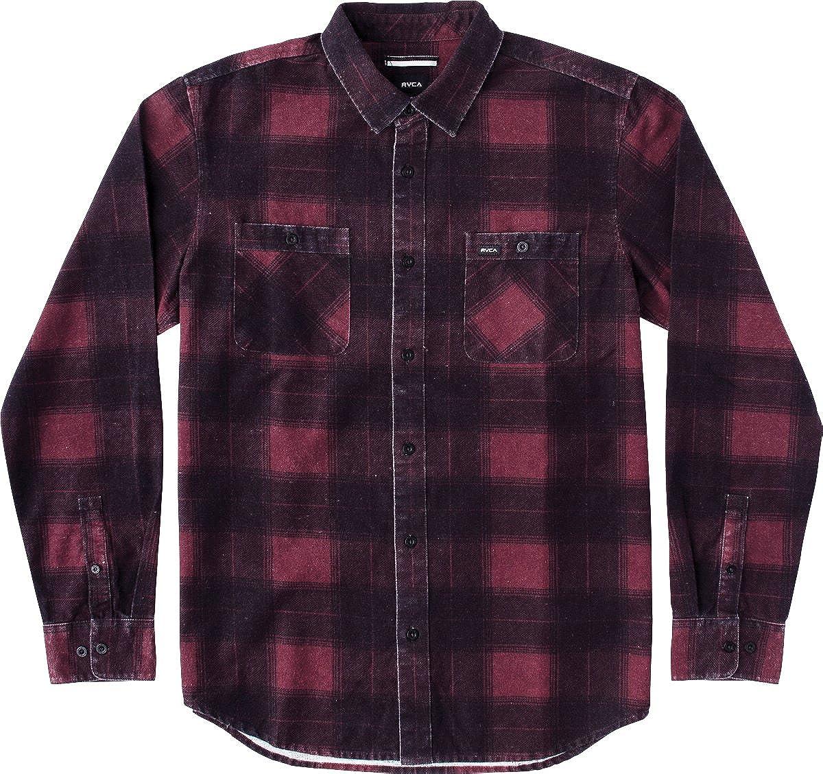 RVCA Mens Wayman Plaid Long Sleeve Shirt