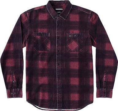 RVCA de hombre Wayman Plaid camisa de manga larga - Rojo - : Amazon.es: Ropa y accesorios