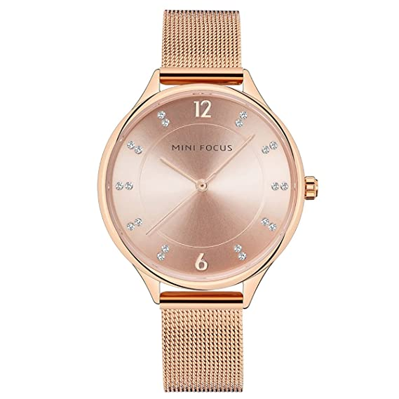 longqi reloj mujer reloj de malla de moda Rhinestone marca de tiempo árabe numeral cuarzo reloj: Amazon.es: Relojes