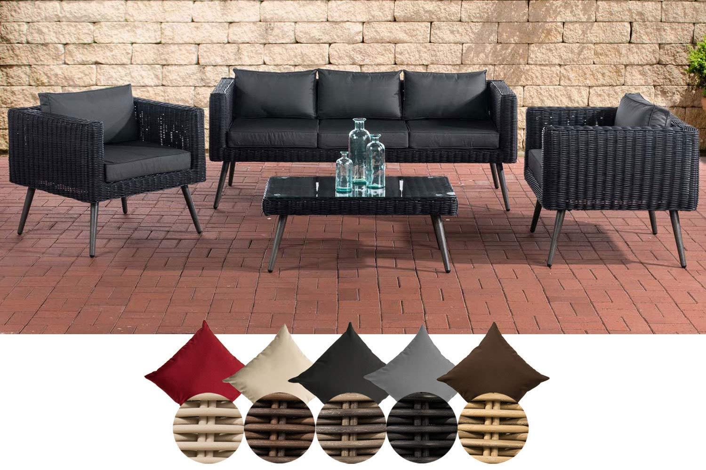 CLP Polyrattan Loungeset MOLDE 3-1-1 I Schwarz I Gartenlounge Rundrattan I Sofa + 2X Sessel + Glastisch I 5mm Rattandicke 40 cm (Dunkelgrau), Anthrazit