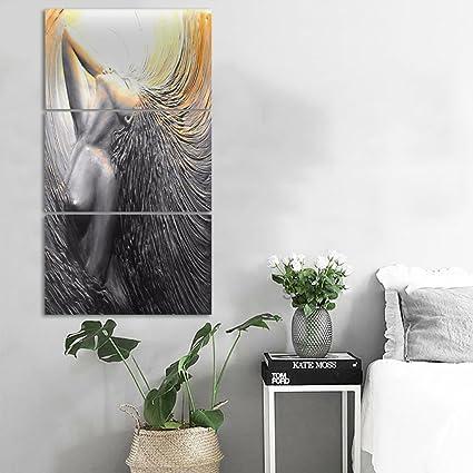 Amazon.com: 3 Pieces Painting Canvas Framed Modern Wall Decor ...