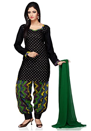 3ff5ca7806 Utsav Fashion Printed Cotton Punjabi Suit in Black Color: Amazon.in:  Clothing & Accessories