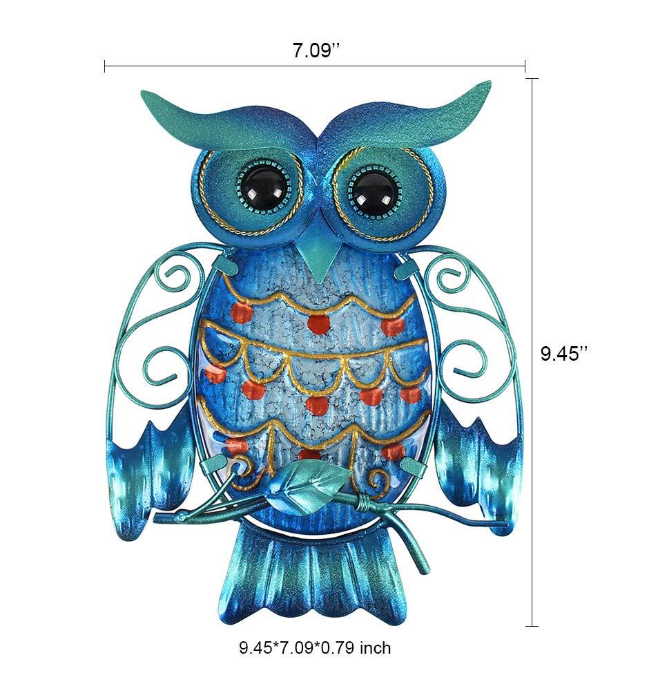 Decorativo para Colgar en Interiores y Exteriores Liffy Home Owl Colgante de Pared de Metal y Cristal