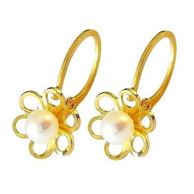 Diamantly Boucles D Oreilles Dormeuse Fleurs Et Perle De Culture