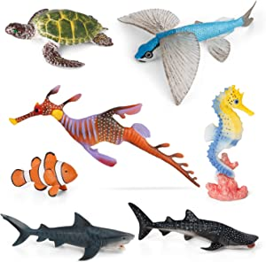 Volnau Sea Creature Toys 7PCS Indian Ocean Sea Animal Figurines Shark Toys for Toddlers Kids Christmas Birthday Gift Plastic Fish Toys Preschool Pack and Bath Sets