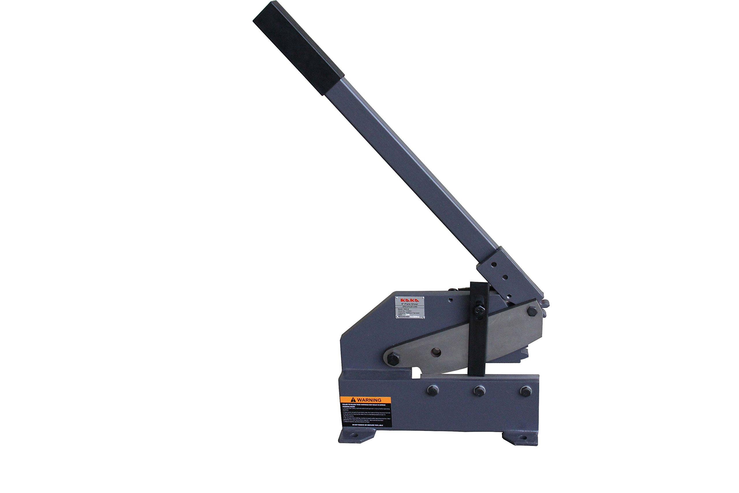 KAKA Industrial HSG-8 8-Inch Heavy-Duty Sheet Metal Plate Shear, Cast-Iron Steel Frame Manual Hand Plate Shear