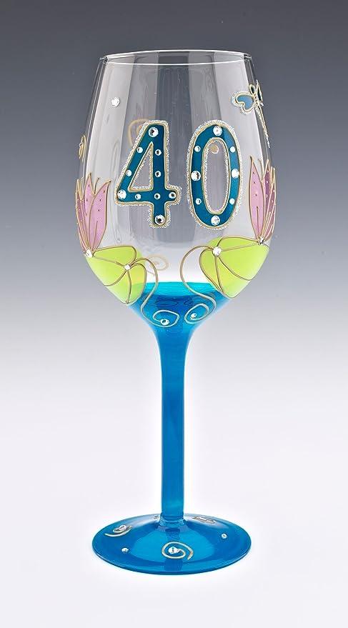 Boxer Gifts Julie Childs - Copa de Vino para 40 cumpleaños (en Caja Regalo), diseño de libélula