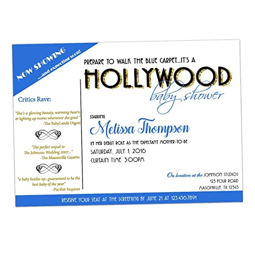 Amazon Hollywood Boy Baby Shower Invitations Blue Carpet Handmade