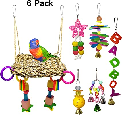 Conures YES.YM Bird Parrot Toys Birds Swing Toys Bird Cage Toys Hammock Bell Ladder Perch Chewing Toys for Small Parakeets Parrots Macaws Parrots 6 PCS Finches Budgie,Cockatiels Love Birds