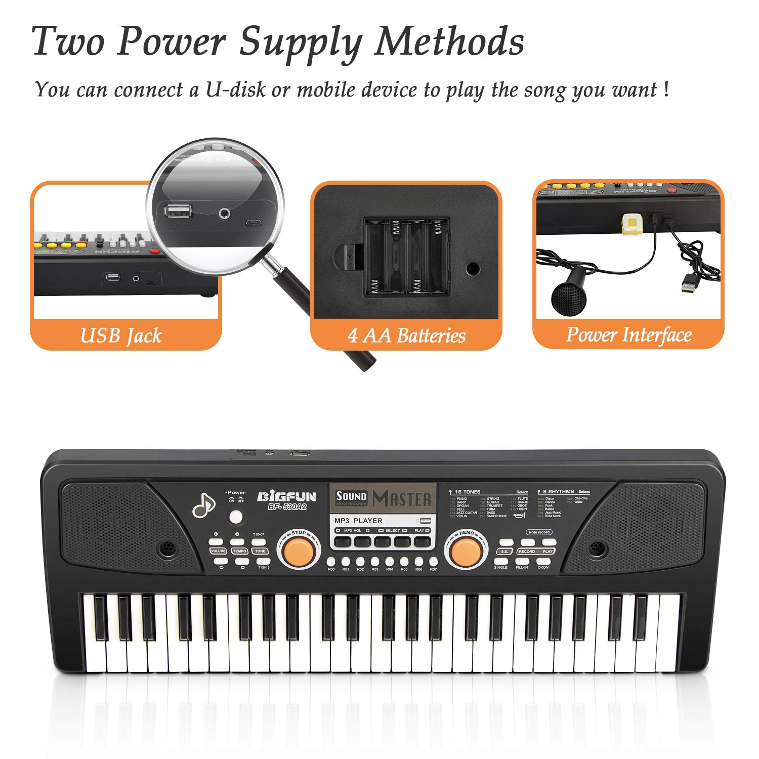 SAOCOOL Piano for Kids , 49 Keys Piano Keyboard Multifunction Electronic Kids Piano with Microphone for Kids Early Learning Educational Toy (Black) by SAOCOOL (Image #3)